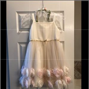 Complete Flower girl dress, sweater and headpiece.